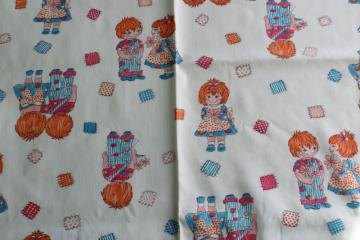 70s vintage fabric, cotton twill print cute kids, ginger red hair boy & girl
