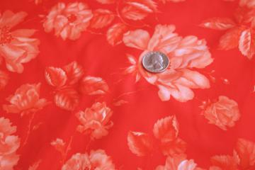 70s vintage fabric, poly tricot knit w/ retro flowered print coral / tomato red