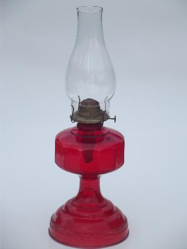 70s vintage glass oil lamp homesteader antique chimney lamp w shade aloadofball Image collections
