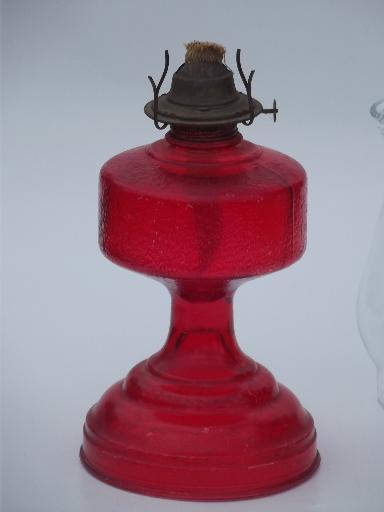 70s Vintage Glass Oil Lamp Homesteader Antique Chimney