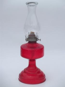 70s vintage glass oil lamp, homesteader antique chimney lamp w/ shade