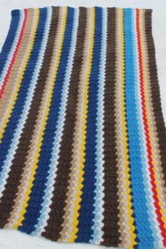 70s vintage handmade crochet rug, boho stripes in retro urban mod colors