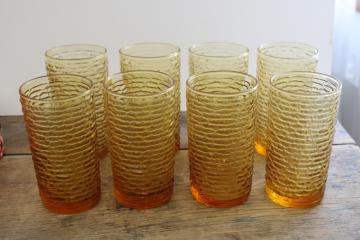 70s vintage harvest gold colored glass drinking glasses, Soreno textured glass tumblers