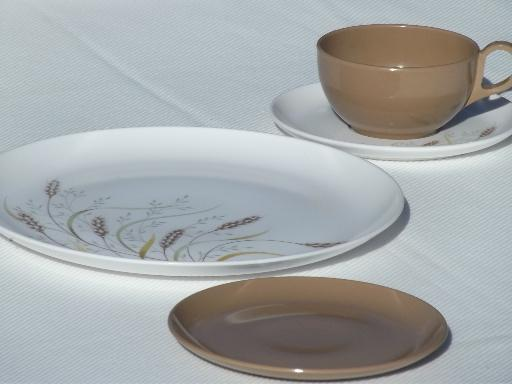 & 70s vintage melmac dinnerware set retro brown wheat print dishes