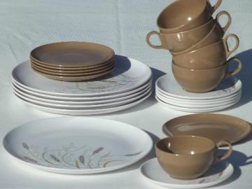 70s vintage melmac dinnerware set, retro brown wheat  print dishes