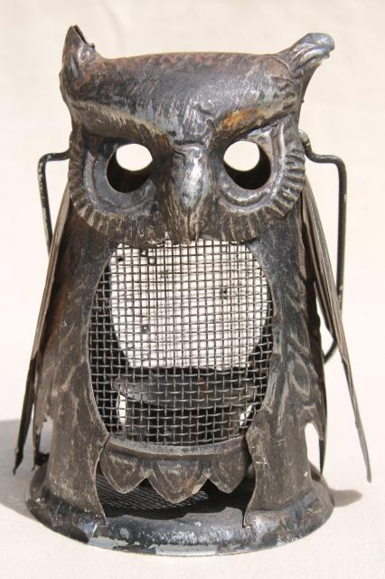 70s Vintage Metal Owl Candle Lantern Fairy Light For