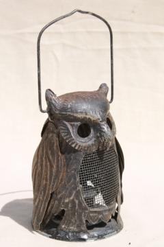 70s vintage metal owl candle lantern fairy light for rustic fall decor or Halloween