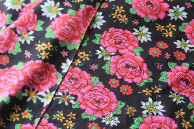 70s vintage poly fabric, retro gypsy punk boho floral print black w/ shocking pink roses