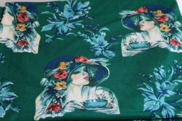 70s vintage poly knit fabric w/ deco style print, sophisticated ladies in cloche hats