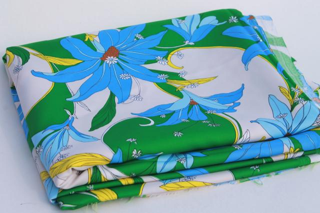 70s vintage polyester fabric, blue lily tropical leaves print, very retro!