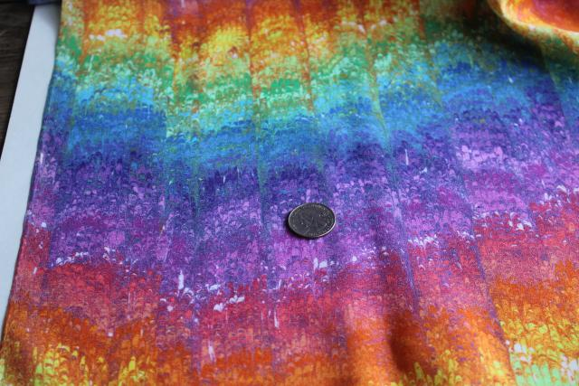 70s vintage polyester fabric w/ rainbow marbled sublimated print, groovy gay pride