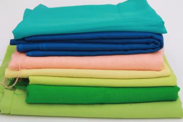 70s vintage polyester fabric, spring summer solid colors lot peach, blue, green
