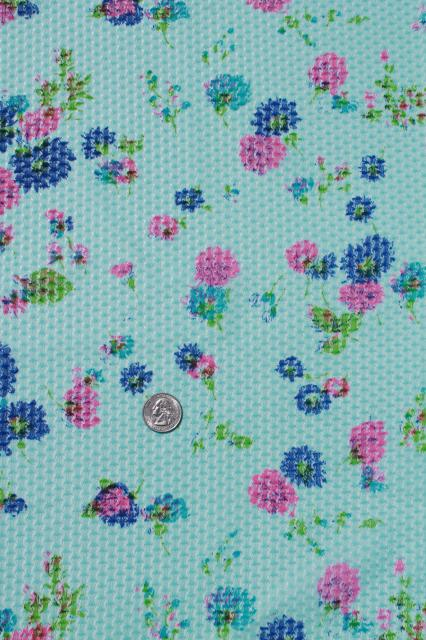 70s vintage polyester knit lace w/ retro flower print, semi sheer poly fabric