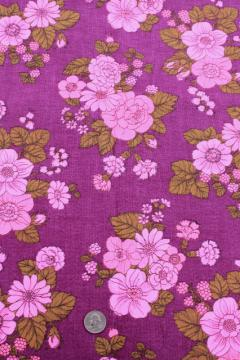 70s vintage print fabric, retro magenta pink flowers on raspberry purple linen weave cotton fabric