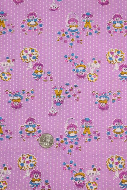 70s vintage quilting weight cotton fabric, Raggedy Ann dolls on lavender purple