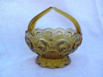 70s vintage reproduction of antique moon & star basket in amber glass
