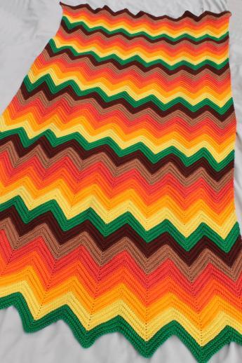 70s Vintage Ripple Crochet Afghan Zig Zag Chevrons In Bright Retro