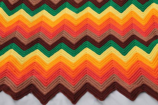 70s vintage ripple crochet afghan, zig-zag chevrons in bright retro colors!