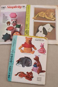 70s vintage sewing craft patterns for retro stuffed animals & toys, Pooh, Snoopy dog