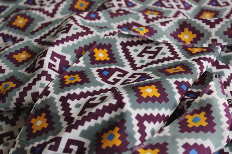 70s vintage silky poly fabric for western wear, southwest indian blanket print