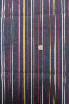 70s vintage striped jeans fabric, yellow & red woven stripe blue denim