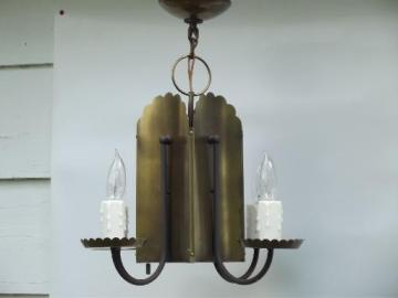 70s vintage tole metal tavern candles hanging lamp chandelier light