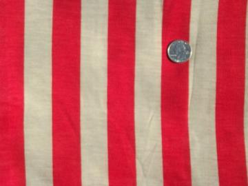 70s vintage t-shirt knit fabric, cotton blend w/ wide red awning stripe