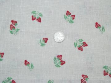 70s vintage unbleached cotton hopsack fabric, retro strawberry print