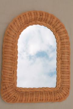 70s vintage wicker frame mirror, rustic modern neutral, natural color basketweave texture