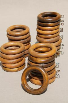 70s vintage wood curtain rings, big & groovy - retro boho drapery hardware lot