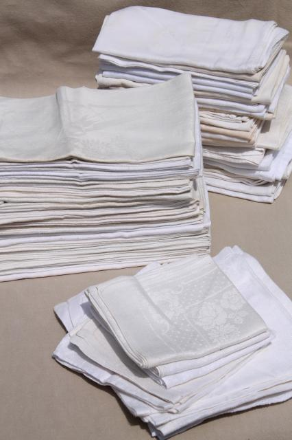 75 cotton & linen damask fabric napkins, mismatched vintage table linen, cloth napkin lot