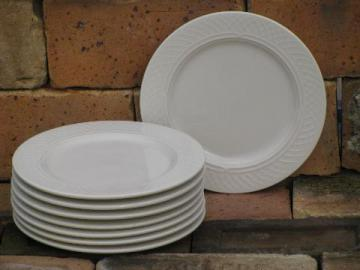 8 Homer Laughlin ivory ironstone china plates, Gothic arch border