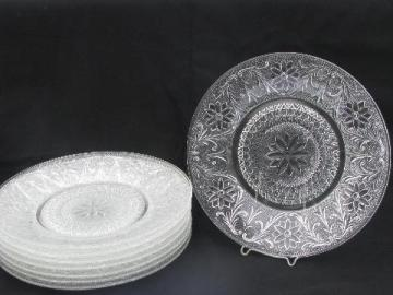 8 dinner plates, vintage sandwich pressed glass, old Indiana daisy pattern