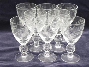 8 etched glass footed sherry or cordial glasses, individual flower vases