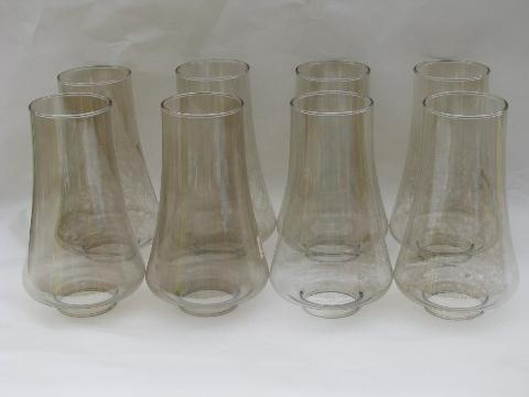 8 lamp chimneys pale smoke glass hurricane shades