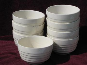 8 old deep bowls for soup, stew, chili, ice cream! vintage USA pottery