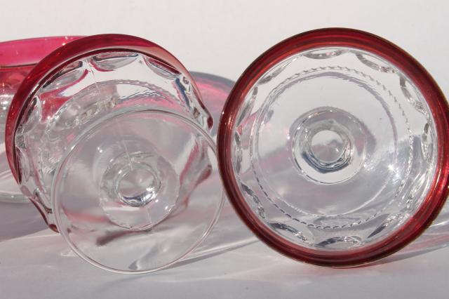 8 vintage Kings Crown pattern glass sherbets or champagne glasses w/ ruby band red flashed color