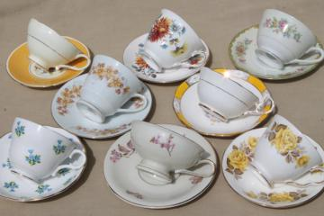 8 vintage china cups & saucers to mixn & match, tea party flowered porcelain teacups