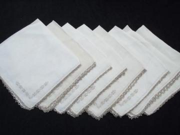 8 vintage dinner napkins, very fine flax handkerchief linen, lace edged