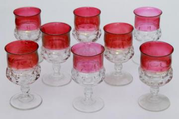 8 water glasses or large wine goblets, King's Crown w/ ruby band, red flashed colo