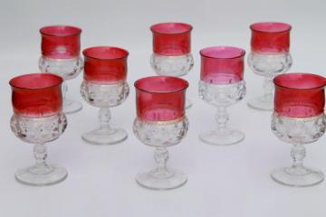 8 water glasses or large wine goblets, King's Crown w/ ruby band, red flashed color