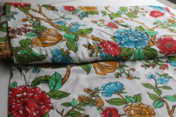 8 yards vintage cotton fabric, chinoiserie floral print peonies on white