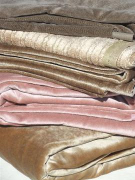 8 yds vintage upholstery remnant fabric, rose pink & shades of greige brown