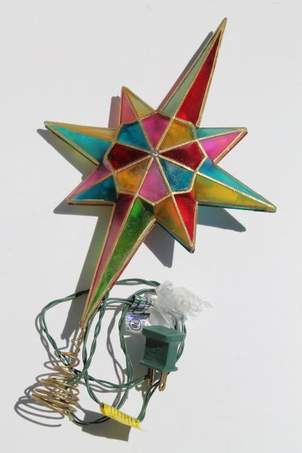 80s 90s vintage Christmas tree topper ornament, lighted star, capiz shell stained  glass plastic - 80s 90s Vintage Christmas Tree Topper Ornament, Lighted Star, Capiz