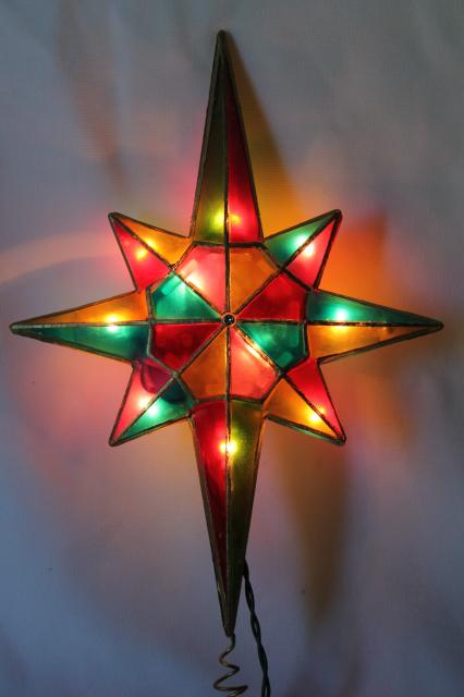 80s 90s Vintage Christmas Tree Topper Ornament Lighted Star Capiz Shell Stained Glass Plastic