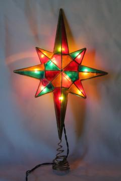 80s 90s vintage Christmas tree topper ornament, lighted star, capiz shell stained glass plastic