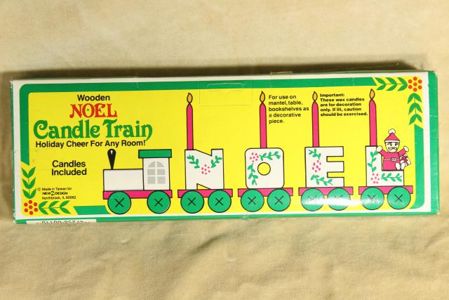 80s 90s vintage NOEL train Christmas ornament hand painted wood holiday decoration