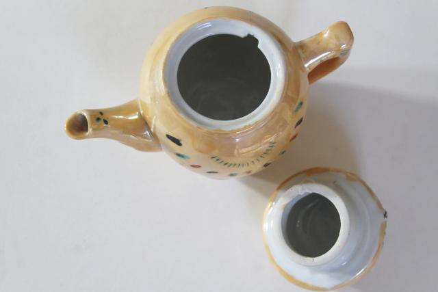 80s 90s vintage Pier 1 porcelain tea pot made in China, hand painted big eye cat or owl
