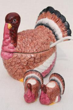 80s 90s vintage Taiwan ceramic turkey dishes for Thanksgiving, soup tureen and candle holders
