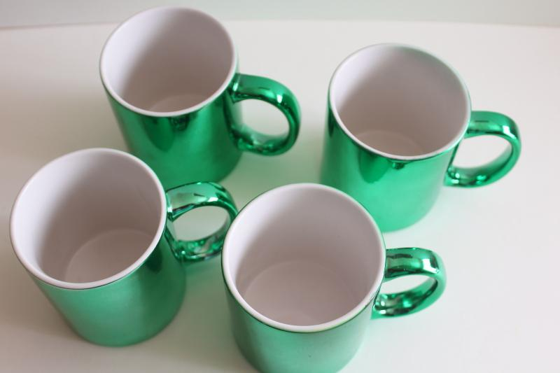 80s 90s vintage ceramic coffee mugs w/ green metallic foil color, set of cups made in Taiwan